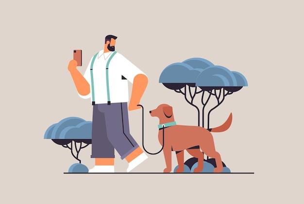 Молодой человек гуляет с собакой владелец-самец и дружба милых домашних животных с концепцией домашних животных горизонтальная полная длина векторная иллюстрация