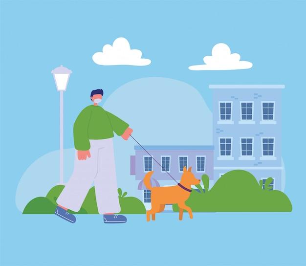 Молодой человек гуляет с собакой на улице городской сцене
