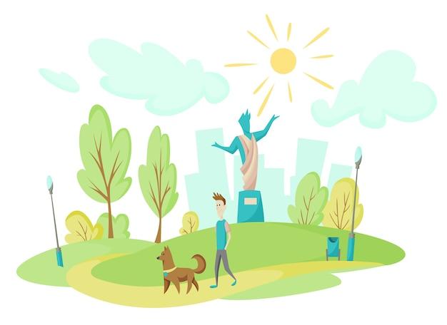 Молодой человек гуляет со своей собакой в городском парке. пейзаж на фоне высоких домов. памятник посреди парка. газон и деревья в плоском стиле. зеленая парковая растительность в центре большого города.