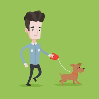Young man walking with his dog