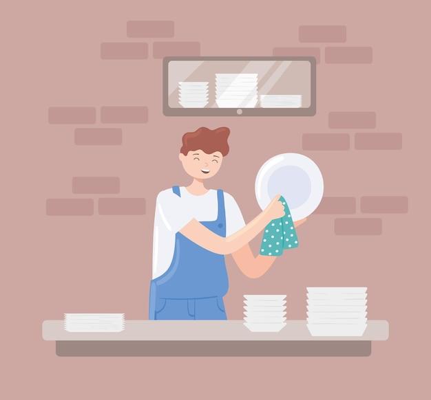 Молодой человек моет посуду
