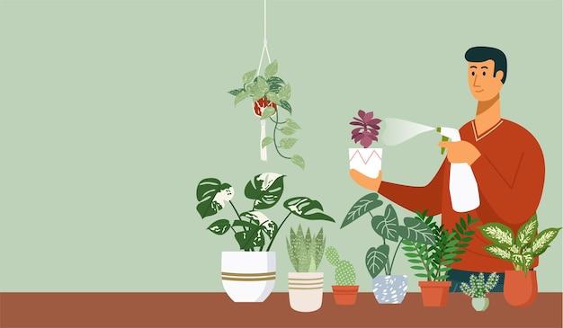 家のイラストで屋内鉢植えに水をまく若い男