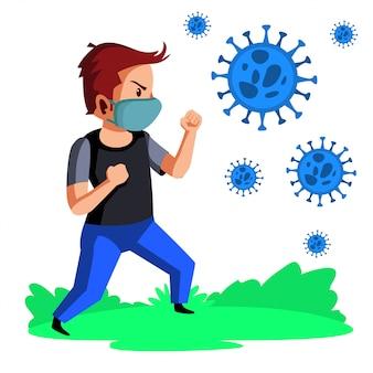 Бой маски носки молодого человека с иллюстрацией вируса короны