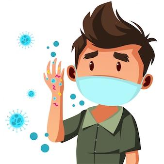 Молодой человек носить маску небезопасно, на его руке много микробов