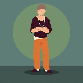 Молодой человек в повседневной одежде