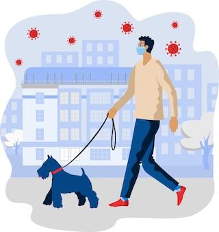 강아지와 함께 산책하는 얼굴 마스크를 착용하는 젊은 남자. 코로나 바이러스가 유행하는 동안 애완 동물과 함께 걷습니다.
