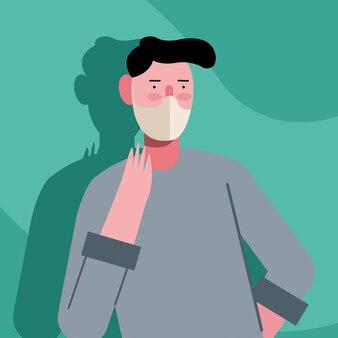 녹색 일러스트 디자인에 의료 마스크 보호를 착용하는 젊은 남자