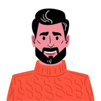 유행 머리 수염과 콧수염을 가진 젊은 남자 빨간 니트 스웨터에 남자의 아바타