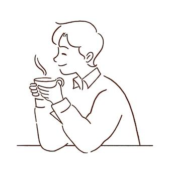 熱い一杯のコーヒー、手描きの線画スタイルの若い男。