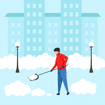 삽을 든 청년이 눈에서 집을 청소합니다. 폭설 중 눈이 내리는 지역을 치우십시오. 평면 그림입니다. 벡터 일러스트 레이 션