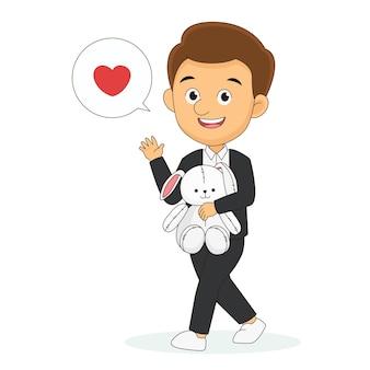 Молодой человек с кроликом тедди в руках, день святого валентина