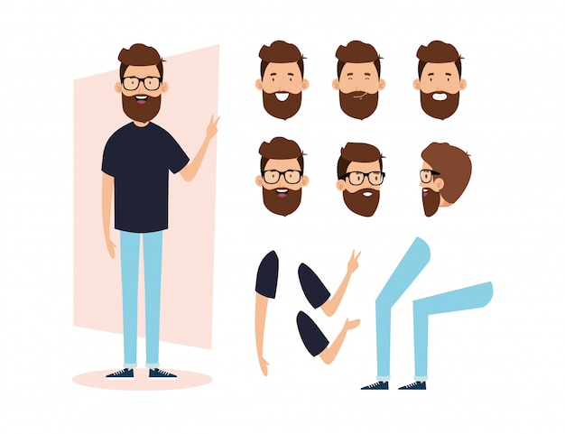 Young man with beard and body parts characters