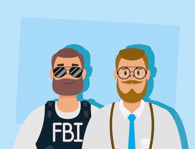 Young man with beard and fbi agent