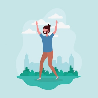 Young man with beard jumping in the park character