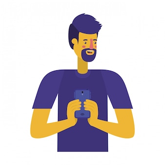 Young man with beard and smartphone