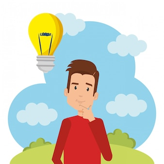 Young man with bulb character