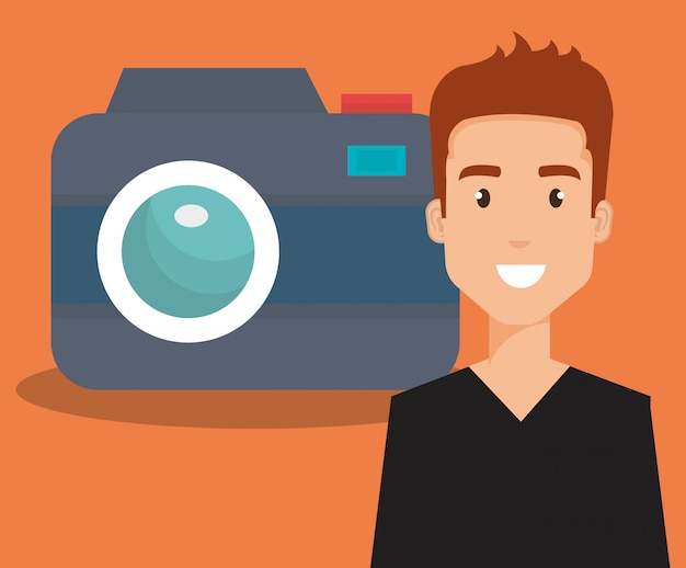 Young man with camera avatar character