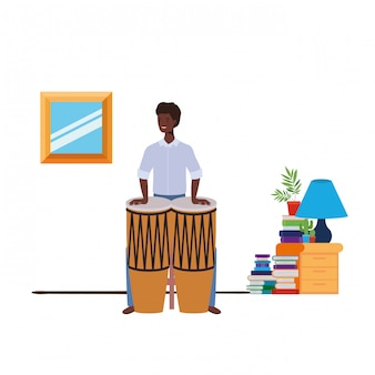 Young man with congas in living room