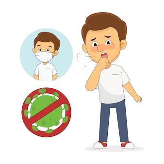 코로나 바이러스 마른 기침 증상을 가진 젊은 남자