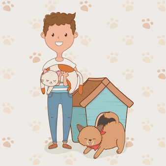 Young man with cute dog and cat mascots