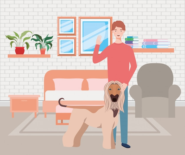 Young man with cute dog mascot in the bedroom