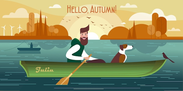 Young man with a dog in a boat.  of autumn fishing