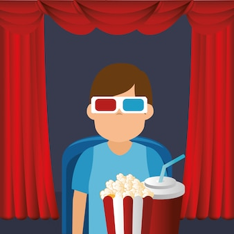 Young man with glasses 3d and cinema icons