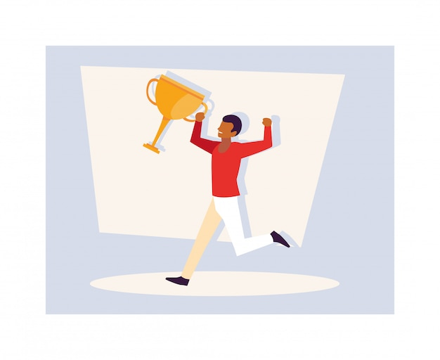 Young man with gold trophy