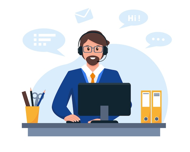 Young man with headphones microphone and computer customer service support or call center concept