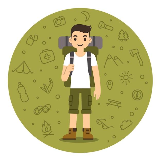 ハイキング用品を持つ若者