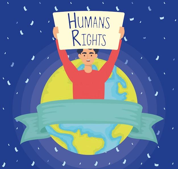 Молодой человек с лейблом прав человека и дизайн планеты векторная иллюстрация