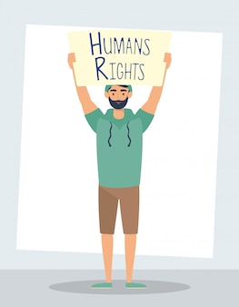 Young man with human rights label character vector illustration design