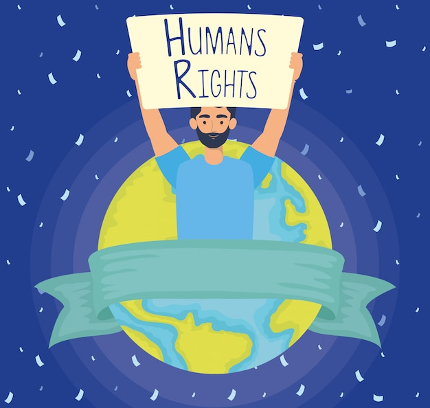 Young man with human rights label and world planet vector illustration design