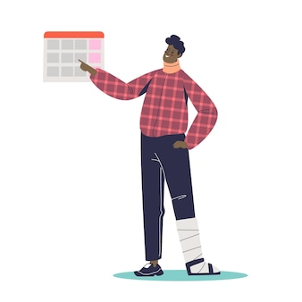 Young man with injured leg and neck waiting for disability allowance payment looking at calendar. disabled cartoon male character look for money support and insurance help.