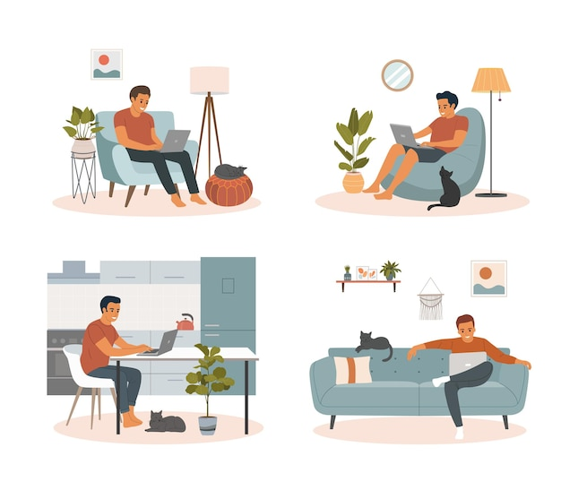 Young man with laptop in home interior.  vector flat cartoon illustration