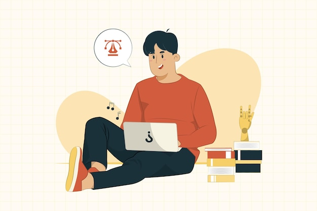 Молодой человек с ноутбуком, сидя на полу, работая из дома концепции