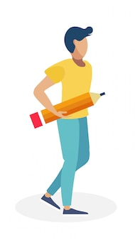 Young man with large pencil  illustration
