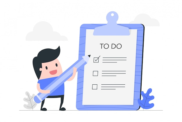 Young man with to do list.