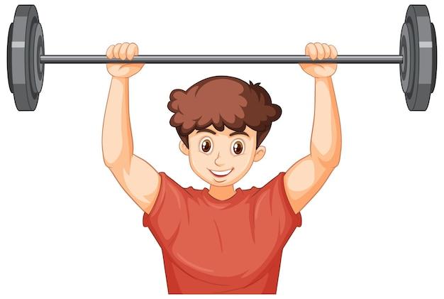 Un giovane con muscoli che si allena con i pesi