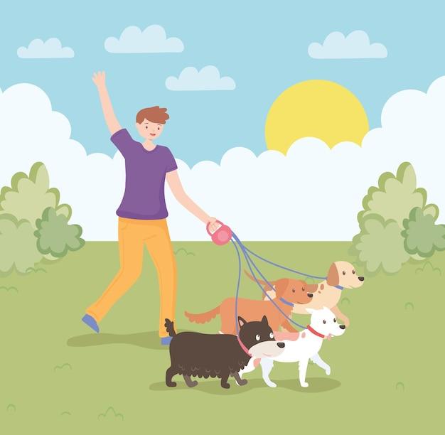 Молодой человек с домашними животными
