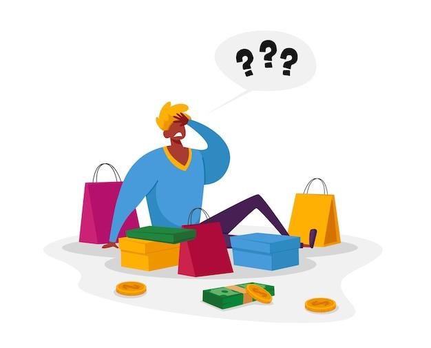 Молодой человек с вопросительными знаками над головой сидит с красочными сумками для покупок