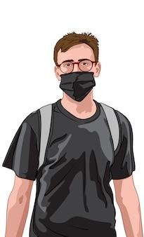 Молодой человек в красных очках и черной футболке в маске для лица