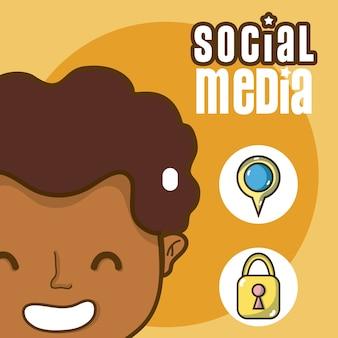 Young man with social media symbols cartoons