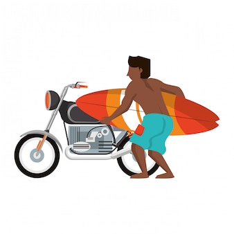 Young man with surf table and vintage motorcycle