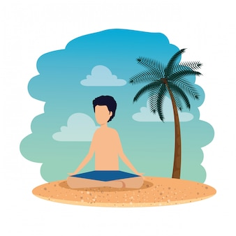 Young man with swimsuit practicing yoga on the beach