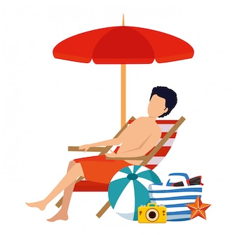 Young man with swimsuit seated in beach chair with summer icons
