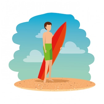 Young man with swimsuit and surfboard on the beach