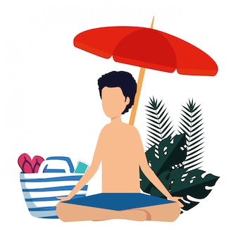 Young man with swimsuit and umbrella practicing yoga