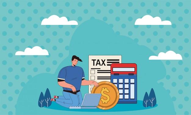 税の日を持つ若い男はイラストデザインを支払う