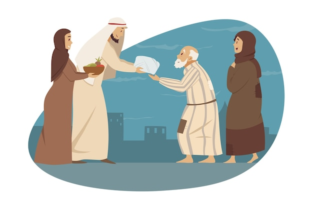 Young man woman brother sister muslims give gifts presents to parents arab granny grandfather
